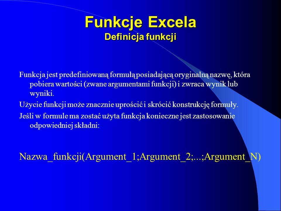 Funkcje Excela Definicja funkcji