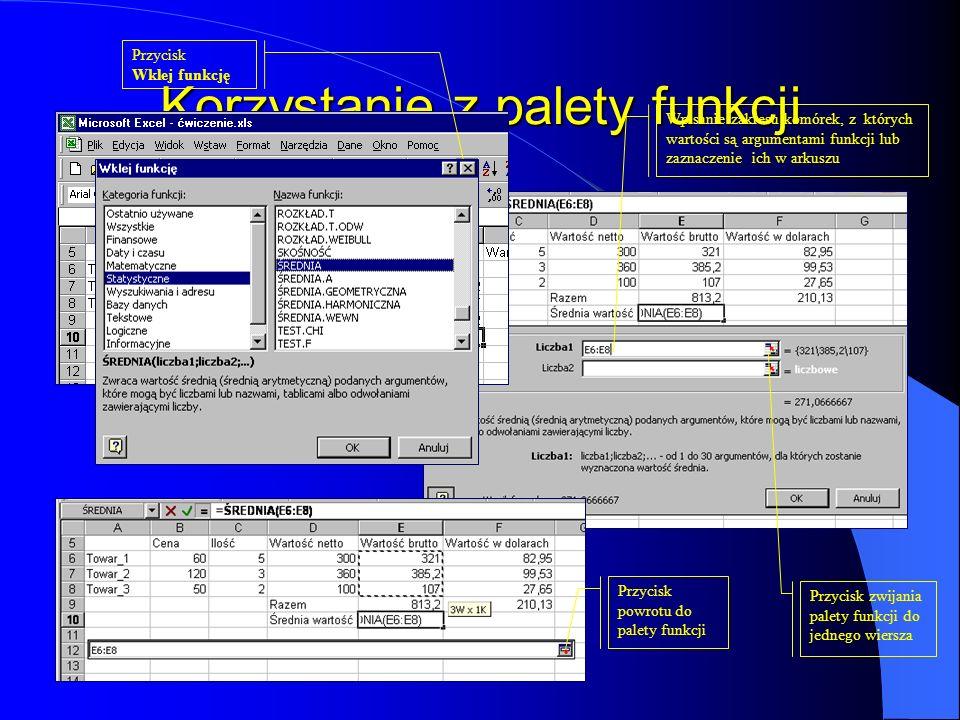 Korzystanie z palety funkcji