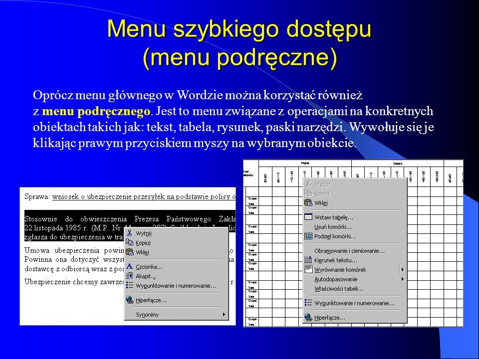 Menu szybkiego dostępu (menu podręczne)
