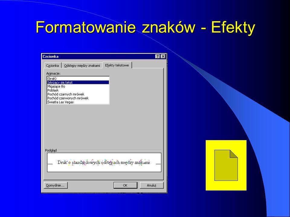 Formatowanie znaków - Efekty