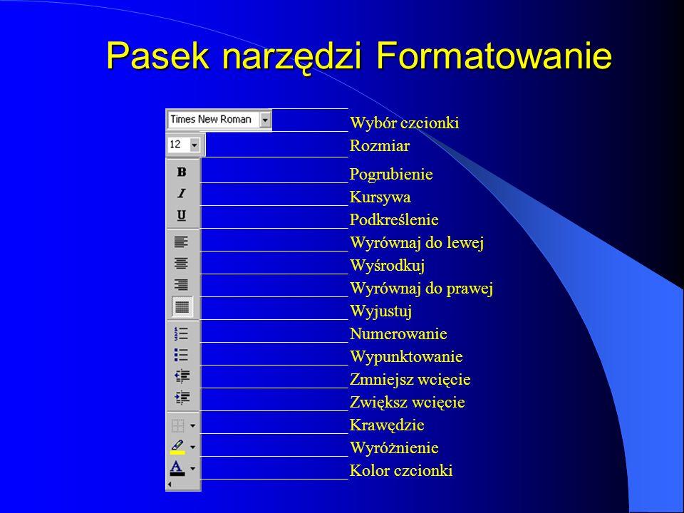 Pasek narzędzi Formatowanie