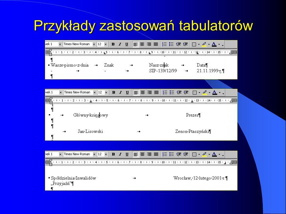 Przykłady zastosowań tabulatorów