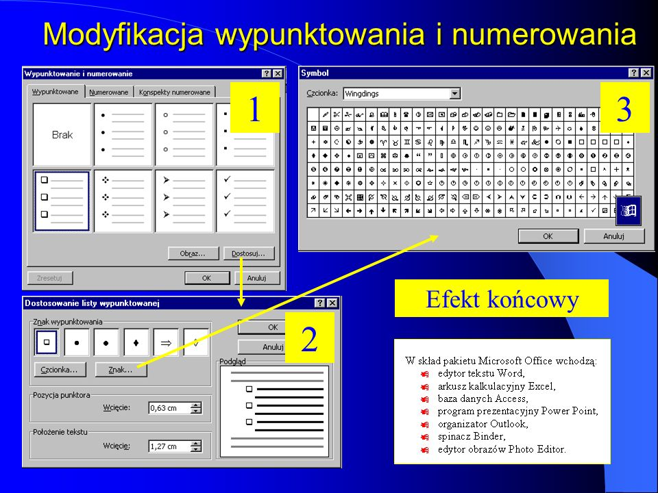 Modyfikacja wypunktowania i numerowania