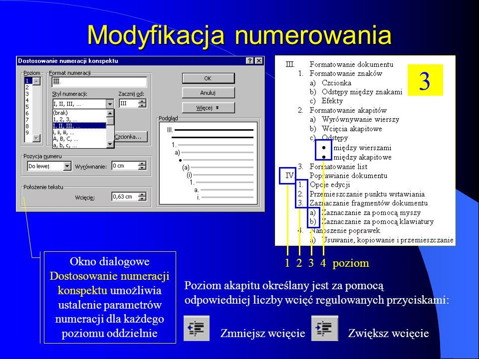 Modyfikacja numerowania