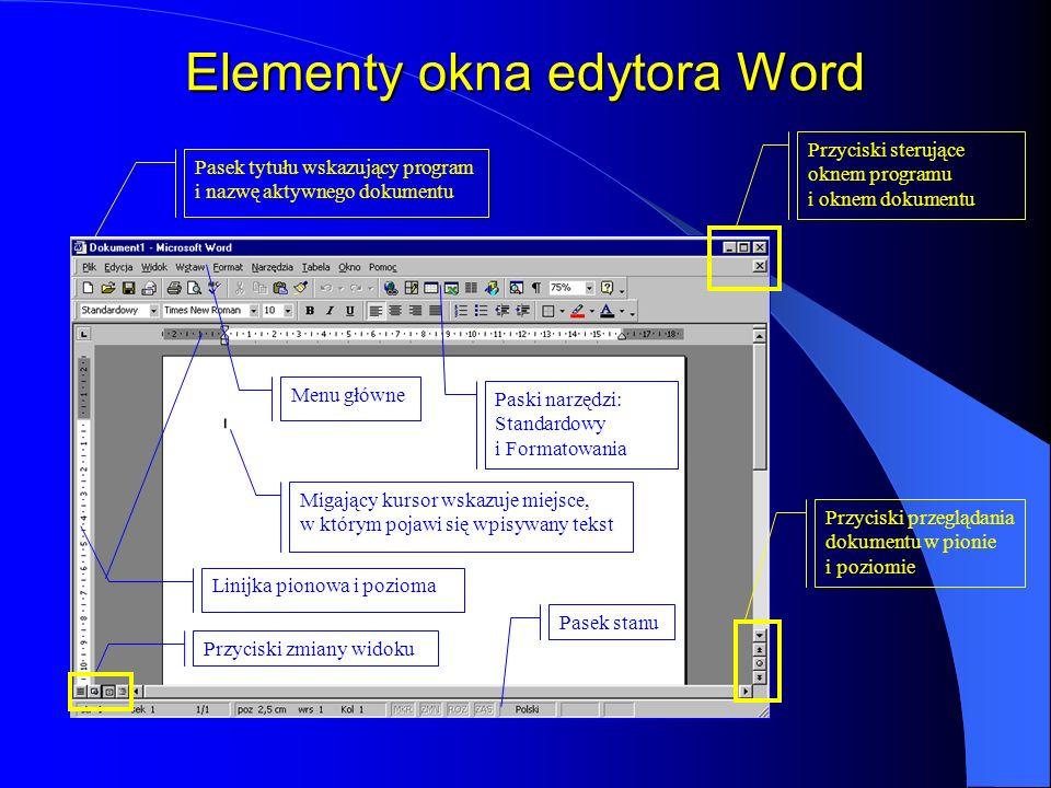Elementy okna edytora Word