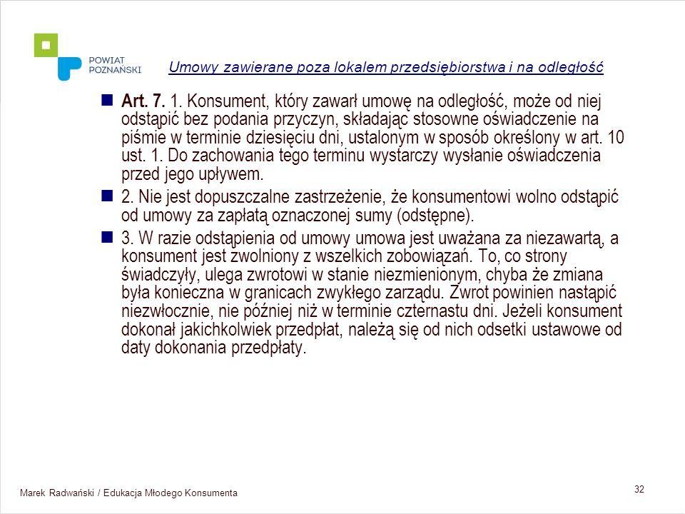 Umowy zawierane poza lokalem przedsiębiorstwa i na odległość