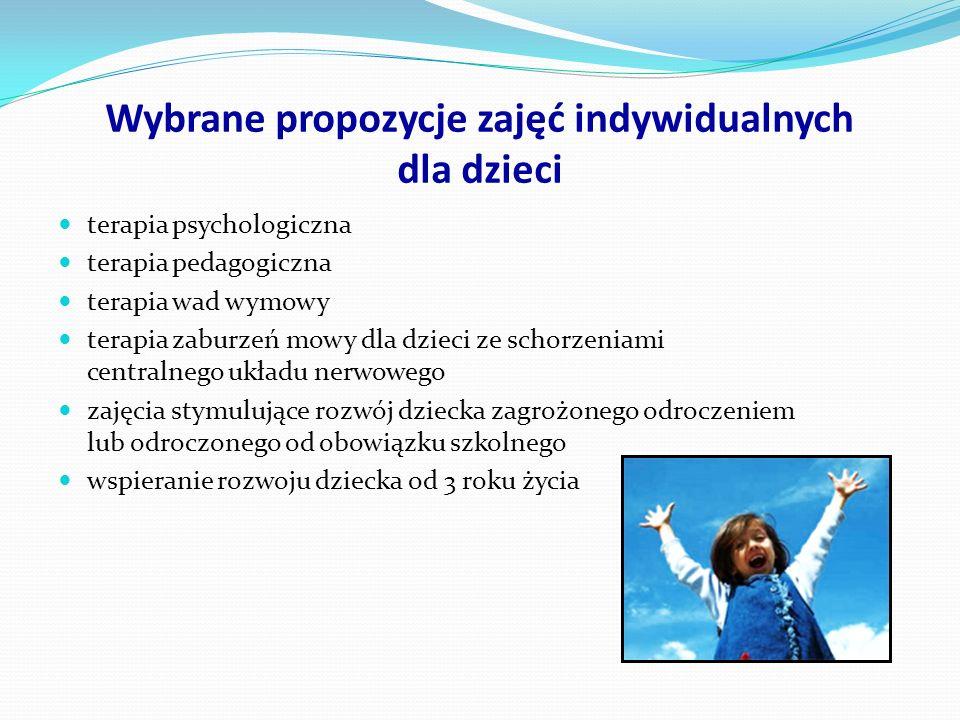 Wybrane propozycje zajęć indywidualnych dla dzieci