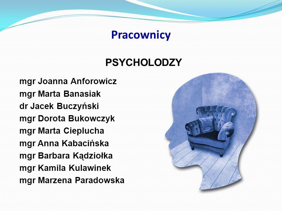 Pracownicy PSYCHOLODZY mgr Joanna Anforowicz mgr Marta Banasiak