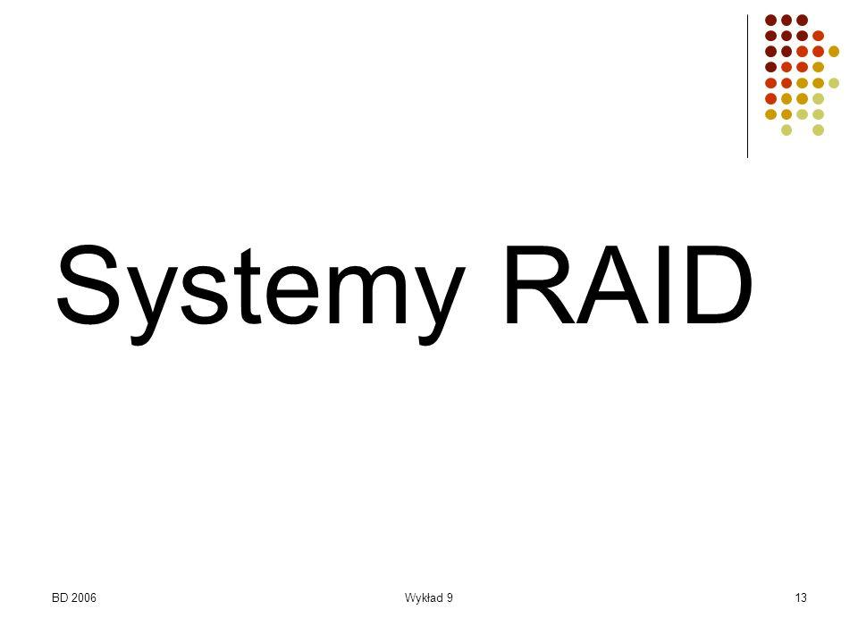 Systemy RAID BD 2006 Wykład 9