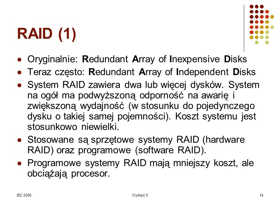 RAID (1) Oryginalnie: Redundant Array of Inexpensive Disks