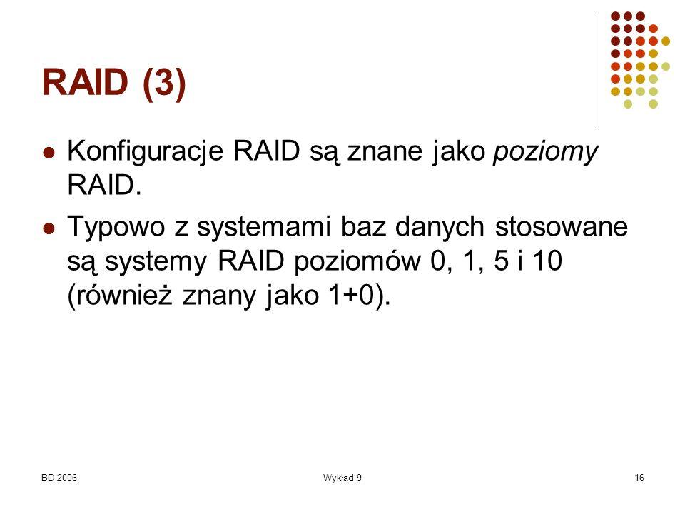 RAID (3) Konfiguracje RAID są znane jako poziomy RAID.