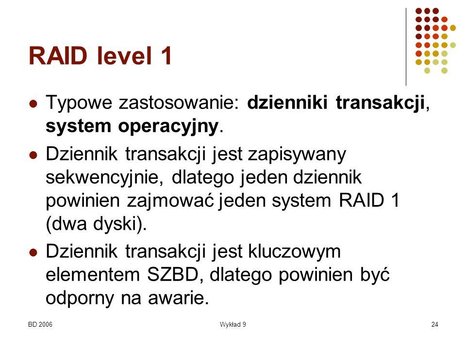 RAID level 1 Typowe zastosowanie: dzienniki transakcji, system operacyjny.