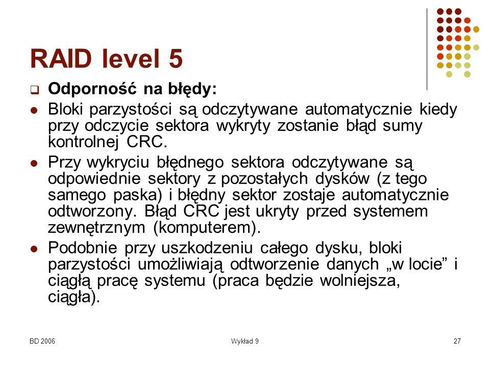 RAID level 5 Odporność na błędy: