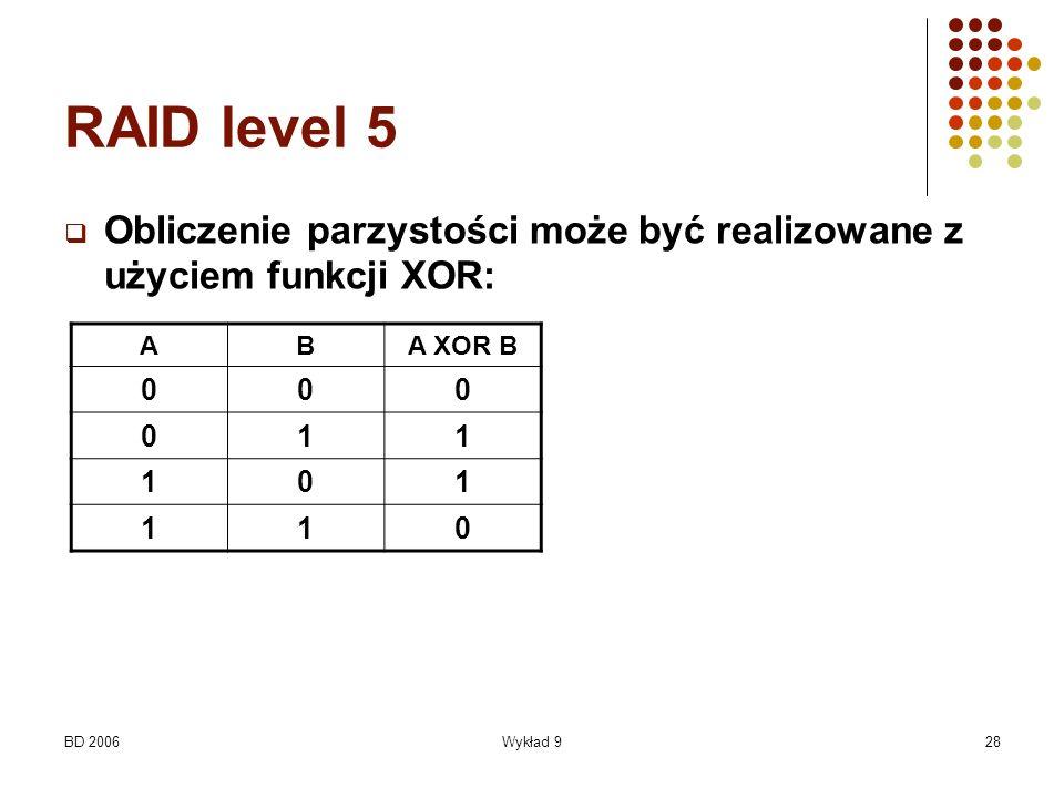 RAID level 5 Obliczenie parzystości może być realizowane z użyciem funkcji XOR: A. B. A XOR B. 1.