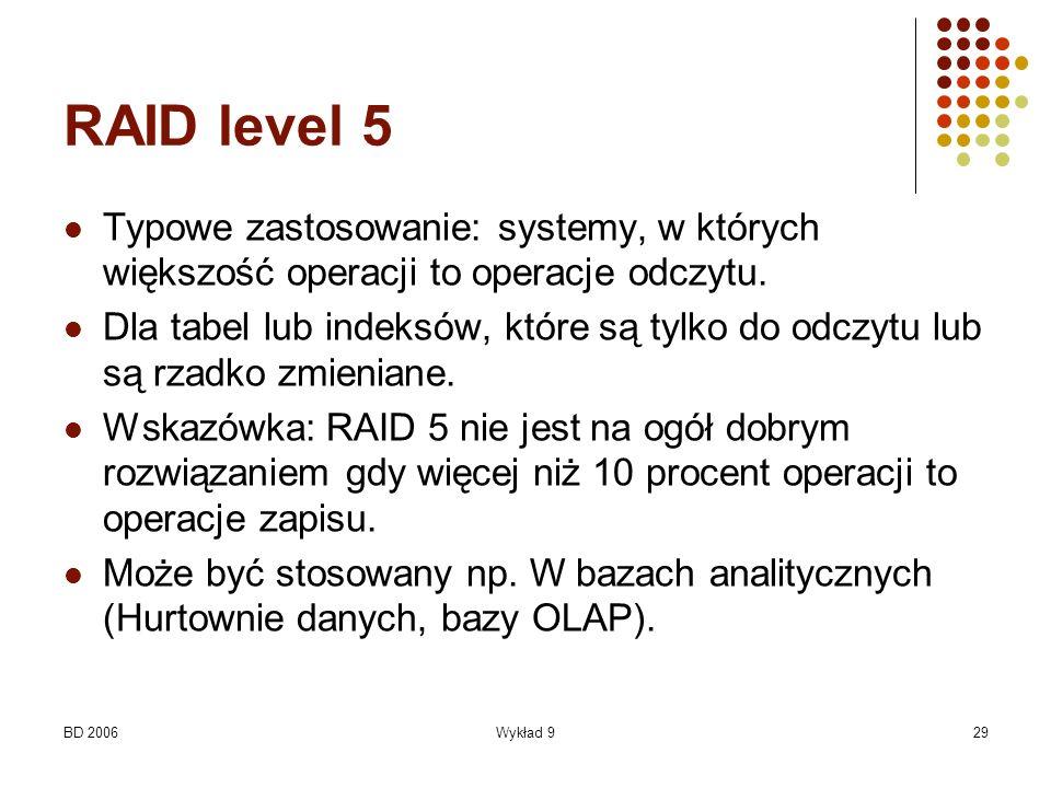 RAID level 5 Typowe zastosowanie: systemy, w których większość operacji to operacje odczytu.