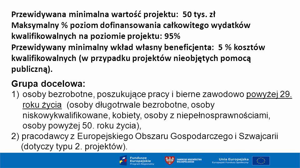 Przewidywana minimalna wartość projektu: 50 tys. zł