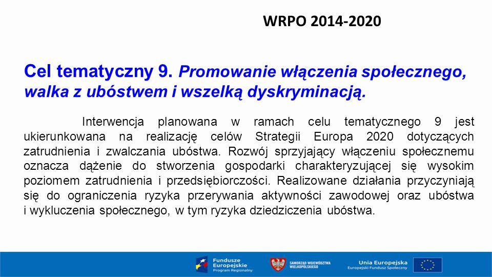 WRPO 2014-2020 Cel tematyczny 9. Promowanie włączenia społecznego, walka z ubóstwem i wszelką dyskryminacją.