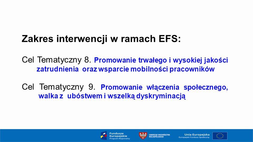Zakres interwencji w ramach EFS: