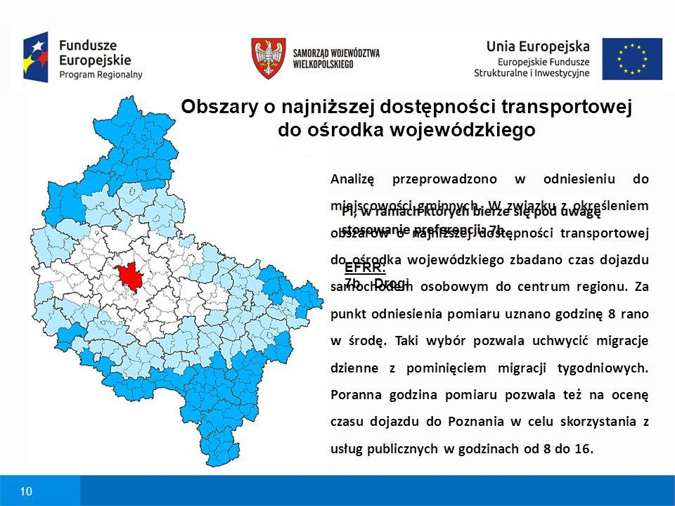 Obszary o najniższej dostępności transportowej do ośrodka wojewódzkiego