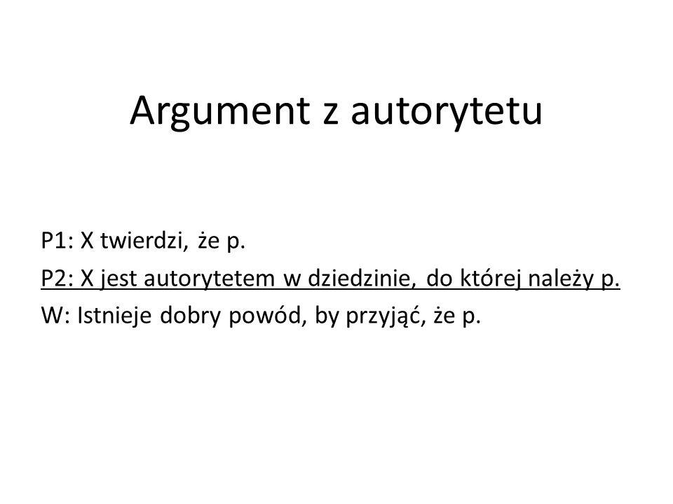 Argument z autorytetu P1: X twierdzi, że p.