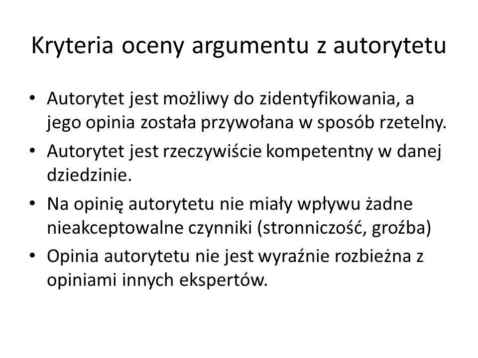 Kryteria oceny argumentu z autorytetu