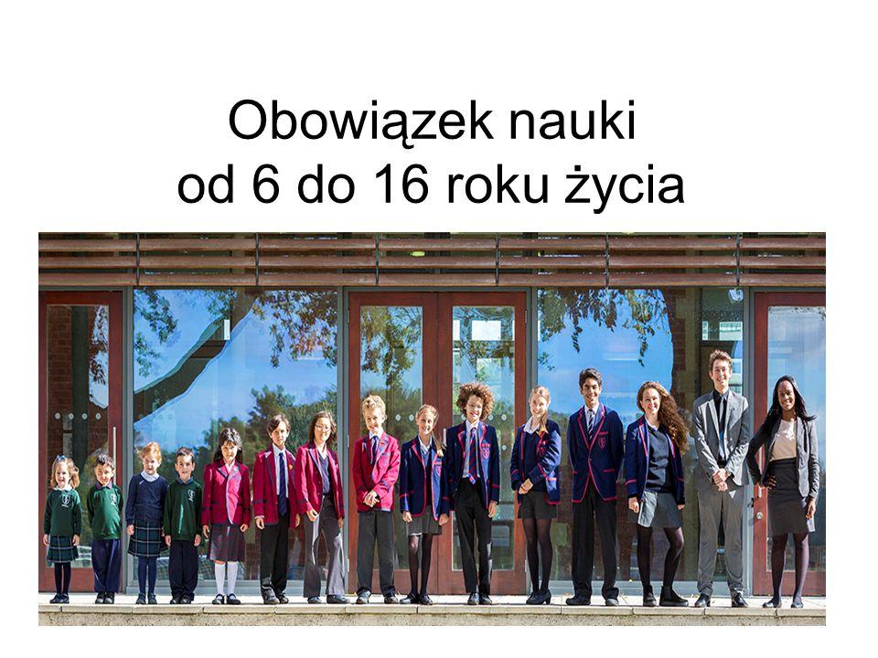 Obowiązek nauki od 6 do 16 roku życia