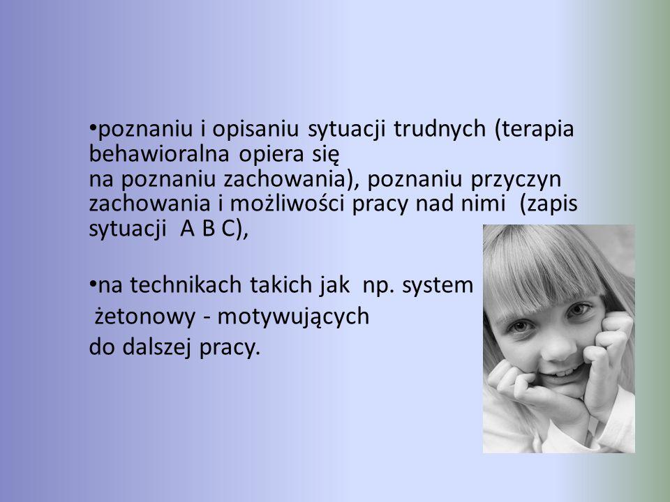 poznaniu i opisaniu sytuacji trudnych (terapia behawioralna opiera się na poznaniu zachowania), poznaniu przyczyn zachowania i możliwości pracy nad nimi (zapis sytuacji A B C),