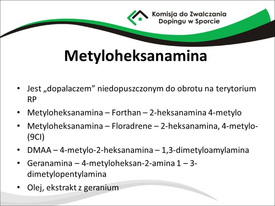 "Metyloheksanamina Jest ""dopalaczem niedopuszczonym do obrotu na terytorium RP. Metyloheksanamina – Forthan – 2-heksanamina 4-metylo."
