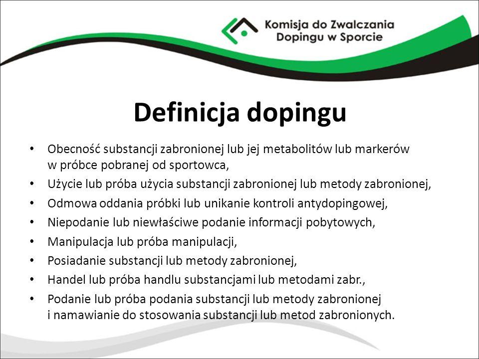Definicja dopingu Obecność substancji zabronionej lub jej metabolitów lub markerów w próbce pobranej od sportowca,