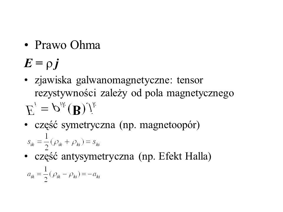 Prawo Ohma E = r j. zjawiska galwanomagnetyczne: tensor rezystywności zależy od pola magnetycznego.