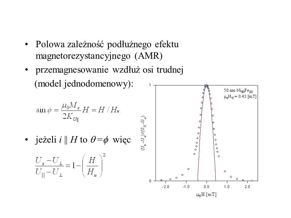 Polowa zależność podłużnego efektu magnetorezystancyjnego (AMR)