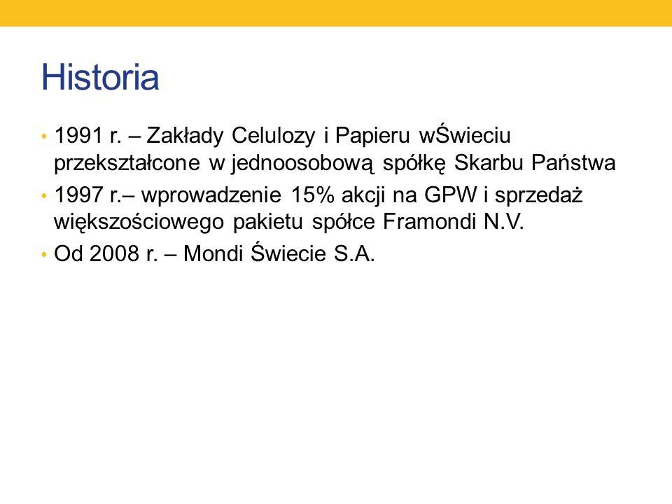 Historia 1991 r. – Zakłady Celulozy i Papieru wŚwieciu przekształcone w jednoosobową spółkę Skarbu Państwa.