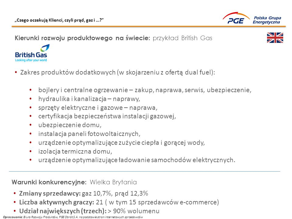 Zakres produktów dodatkowych (w skojarzeniu z ofertą dual fuel):