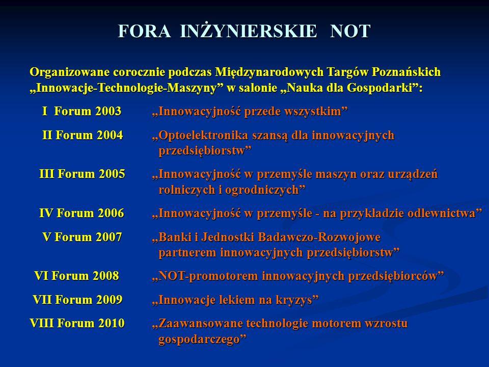 FORA INŻYNIERSKIE NOT Organizowane corocznie podczas Międzynarodowych Targów Poznańskich.