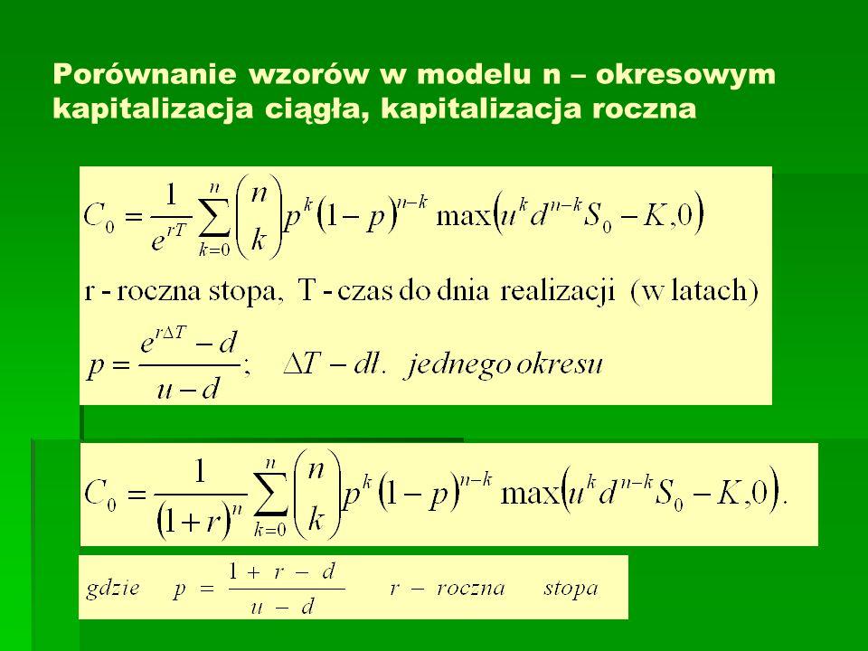 Porównanie wzorów w modelu n – okresowym kapitalizacja ciągła, kapitalizacja roczna