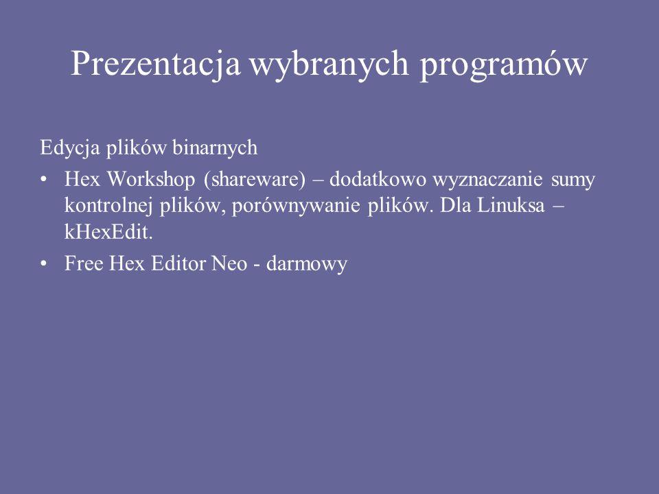 Prezentacja wybranych programów
