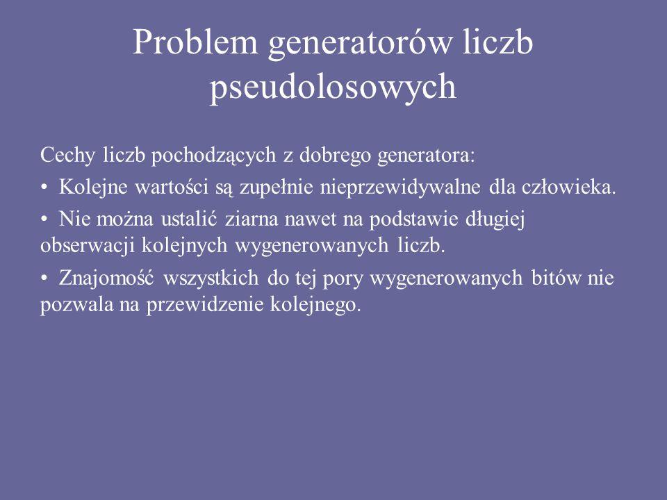 Problem generatorów liczb pseudolosowych