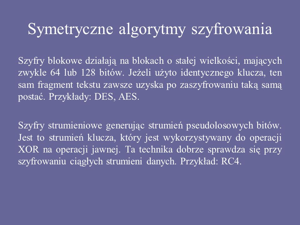 Symetryczne algorytmy szyfrowania
