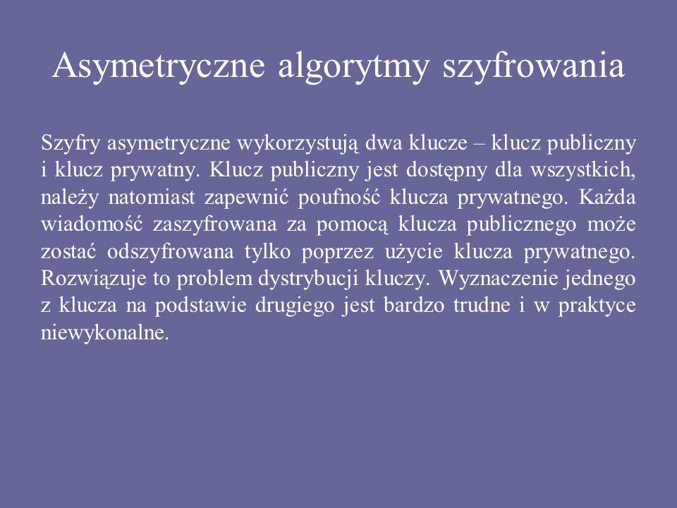 Asymetryczne algorytmy szyfrowania