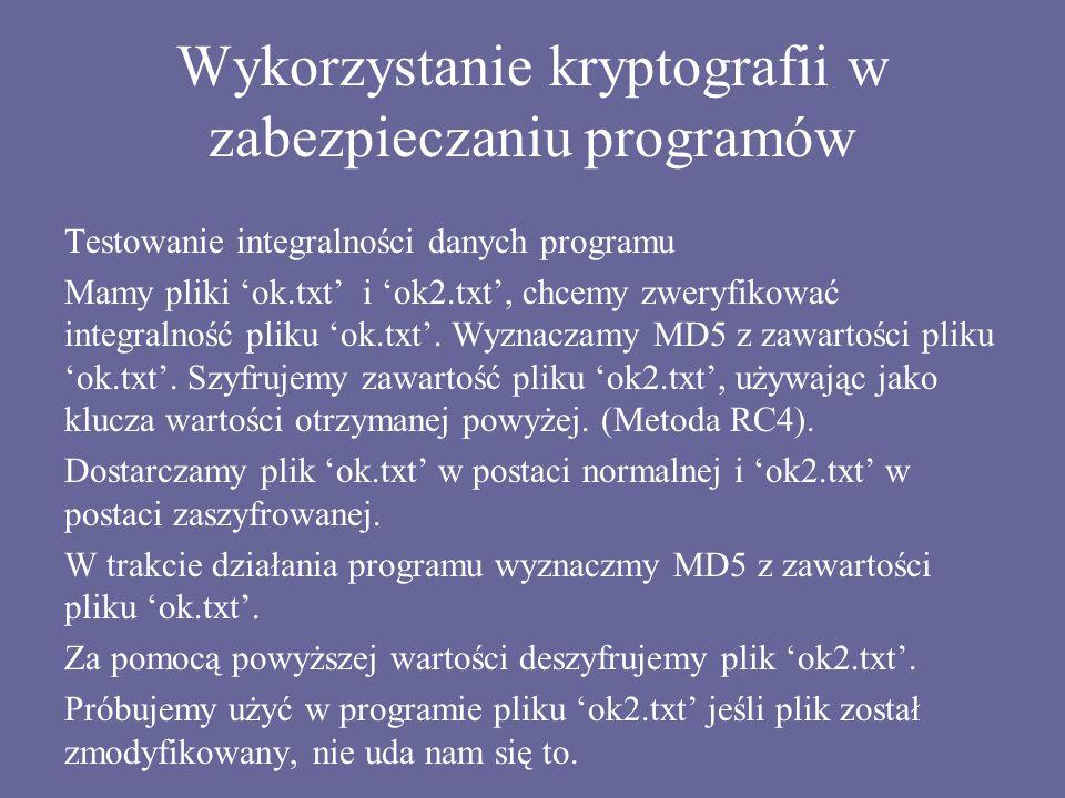Wykorzystanie kryptografii w zabezpieczaniu programów