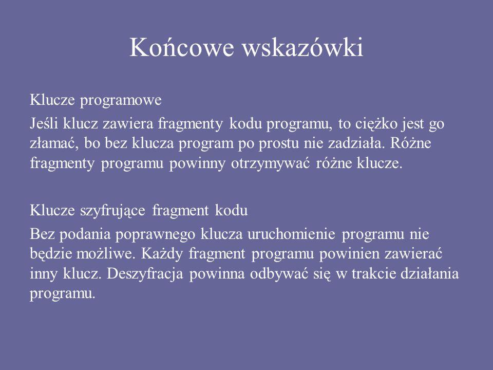 Końcowe wskazówki Klucze programowe