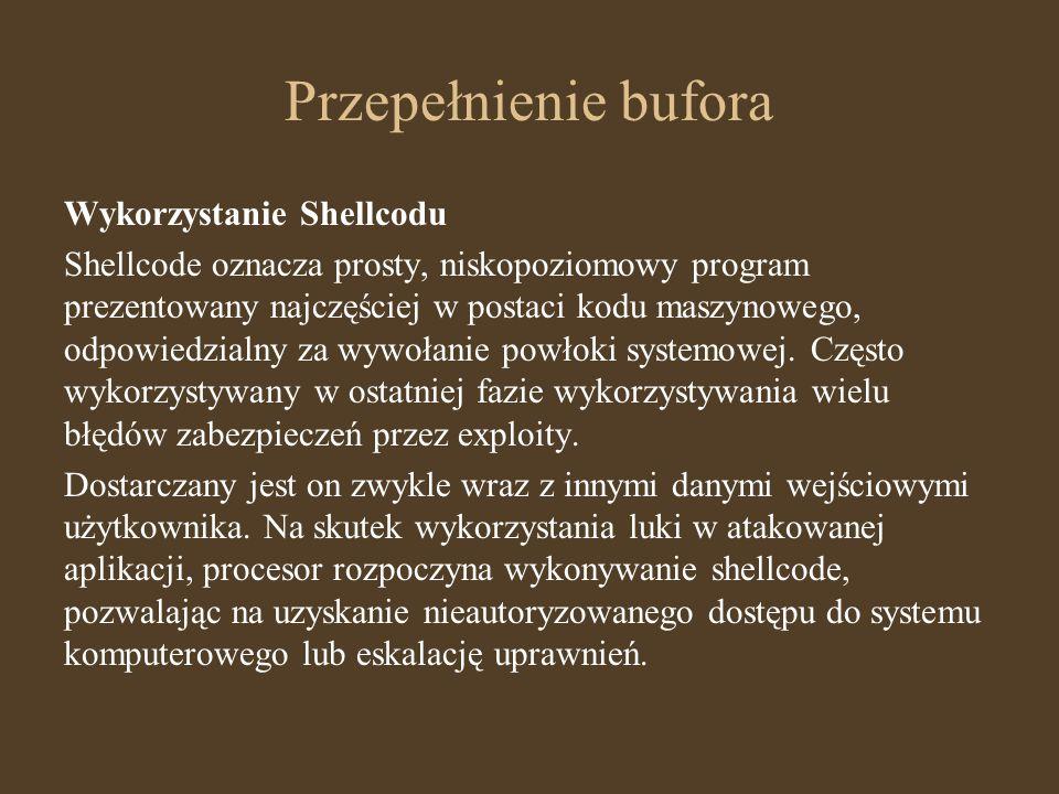 Przepełnienie bufora Wykorzystanie Shellcodu