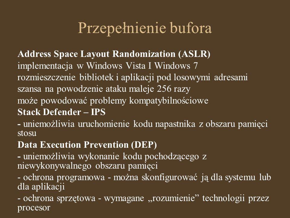 Przepełnienie bufora Address Space Layout Randomization (ASLR)