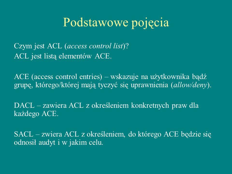 Podstawowe pojęcia Czym jest ACL (access control list)