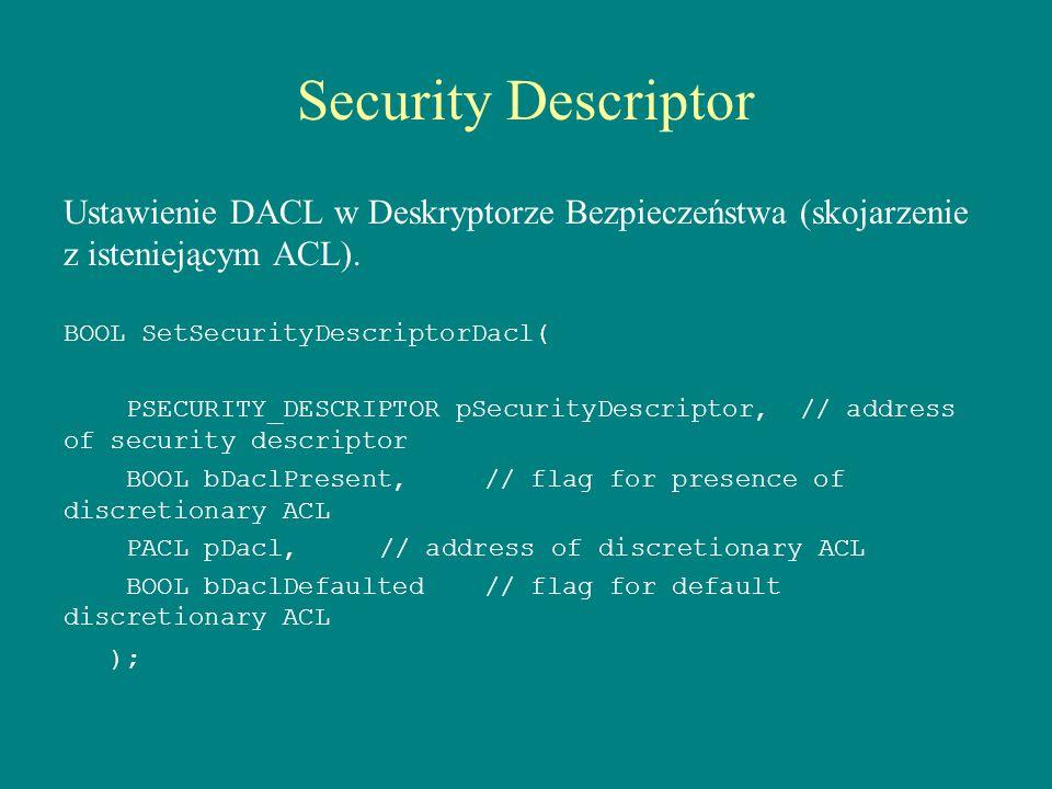 Security Descriptor Ustawienie DACL w Deskryptorze Bezpieczeństwa (skojarzenie z isteniejącym ACL).