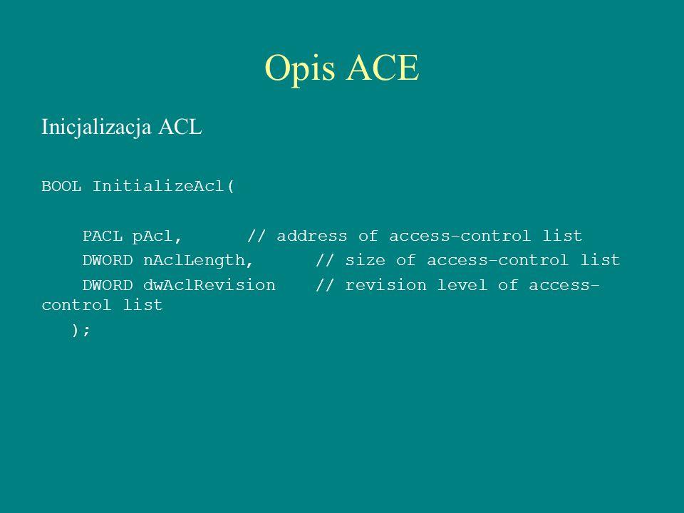 Opis ACE Inicjalizacja ACL BOOL InitializeAcl(