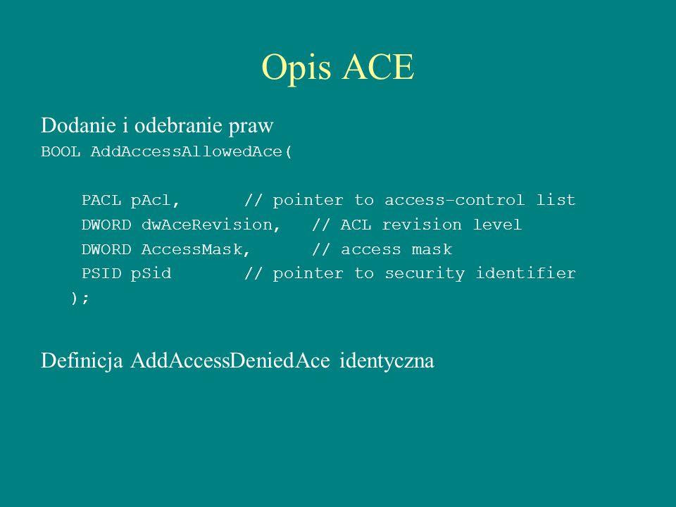 Opis ACE Dodanie i odebranie praw