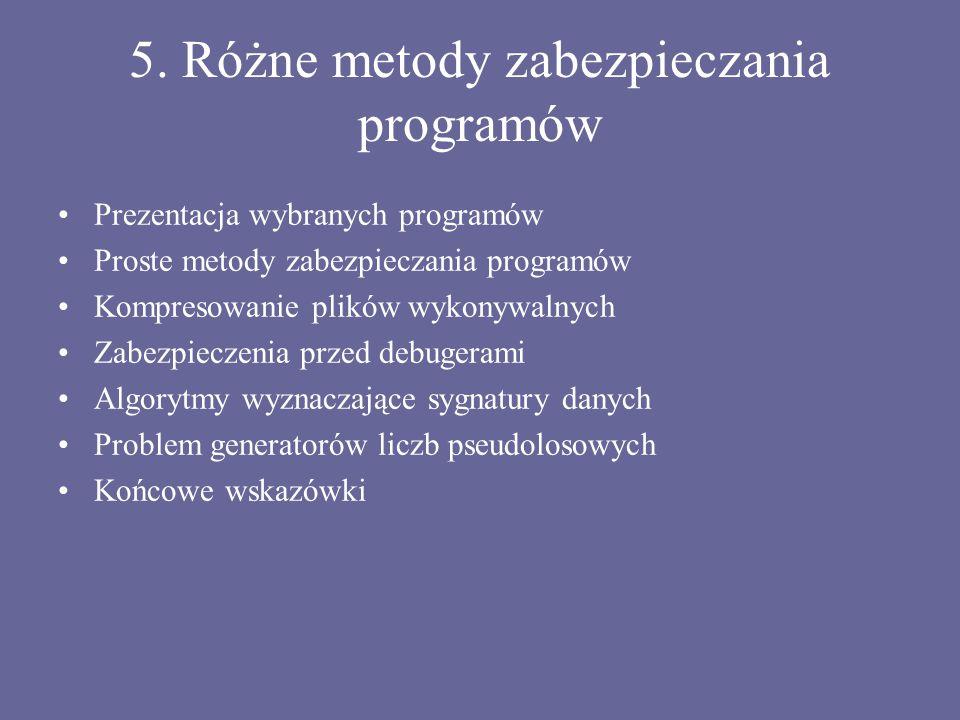 5. Różne metody zabezpieczania programów