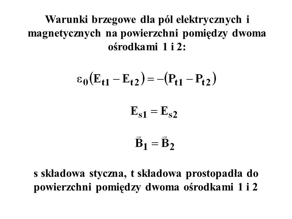 Warunki brzegowe dla pól elektrycznych i magnetycznych na powierzchni pomiędzy dwoma ośrodkami 1 i 2: