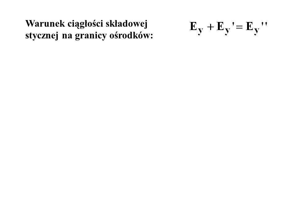 Warunek ciągłości składowej stycznej na granicy ośrodków: